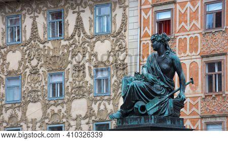 Detail Of Erzherzog Johann Fountain At Hauptplatz (main Square), In Graz, Styria Region, Austria.