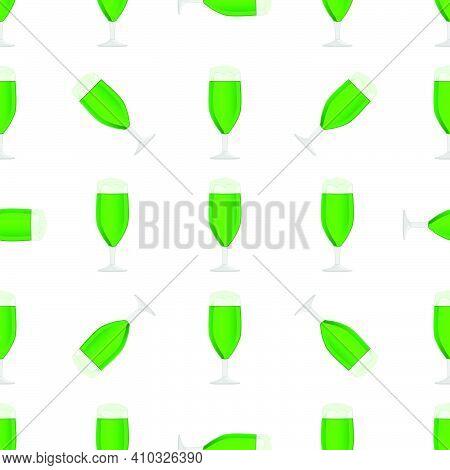 Illustration Irish Holiday St Patrick Day, Seamless Color Beer In Mug. Pattern St Patrick Day Consis