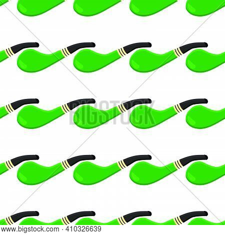 Irish Holiday St Patrick Day, Seamless Green Smoking Pipes. Pattern St Patrick Day Consisting Of Man