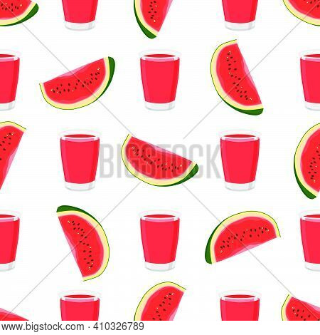 Illustration On Theme Colored Lemonade In Watermelon Cup For Natural Drink. Lemonade Pattern Consist