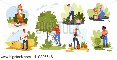 People Farming Set, Farmer Rancher Feeding Chickens And Pigs, Working In Garden Or Field
