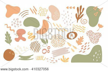 Abstract Nature Organic Geometric Shapes Set, Trendy Cutout Floral Elements Collection