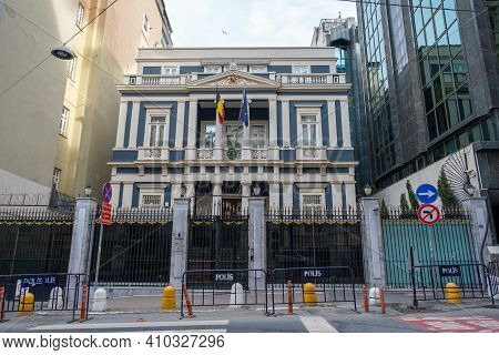 Beyoglu, Istanbul, Turkey - 02.17.2021: Facade Of Belgium Consulate Building In Taksim