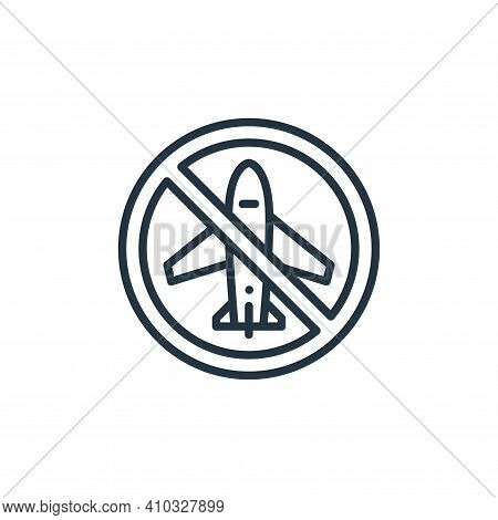 no plane icon isolated on white background from virus transmission collection. no plane icon thin li