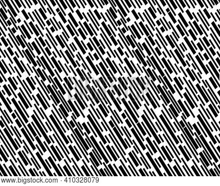 Diagonal Interrupted Black Lines Pattern, Seamless Background