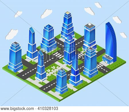 Residential And Industrial Downtown High Rise Tower Buildings City Center 3d Block Composition Proto