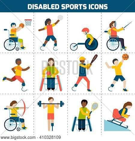 Disabled Sports Design Concept With Handicapped People Playing Football Fencing Cycling Icons Set Is