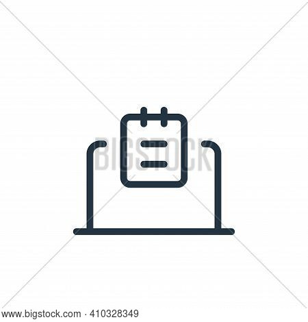 laptop icon isolated on white background from work office supply collection. laptop icon thin line o