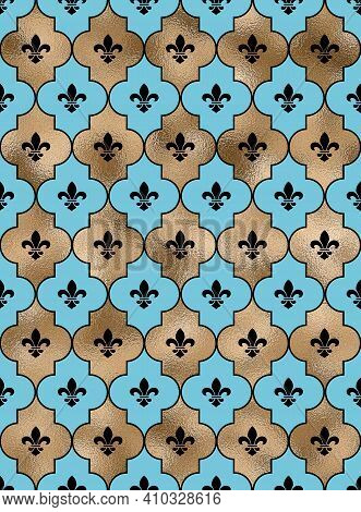 Seamless Background With Lily Fleur De Lis. Turquoise Blue Gold Pattern With Heraldic Symbol Fleur-d