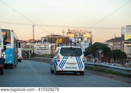 Umraniye, Istanbul, Turkey - 02.18.2021: Turkish Traffic Cop Car Waiting On Emergency Shoulder For T