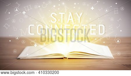 Open book with STAY CONNECTED inscription, social media concept