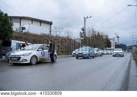 Kemerburgaz, Istanbul, Turkey - 02.25.2021: Driving School Cars And Learner Drivers Before Test Day