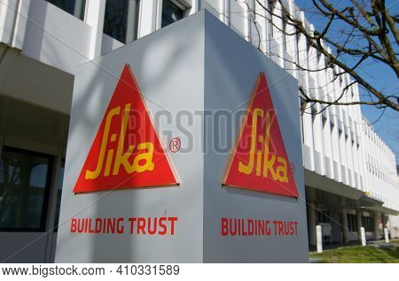 Zug, Switzerland - 26th February 2021 : Sika Ag Sign At Headquarters Building In Zug, Switzerland.si