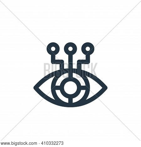 eye icon isolated on white background from virtual reality collection. eye icon thin line outline li