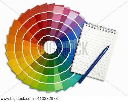 A Palette Of Color Maps For Determining The Color. Reference Book Of Paint Samples, Color Catalog. S