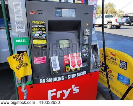 Phoenix, Az - February 28, 2021: Supermarket Gas Station Apologizes For Out Of Service With Diesel A