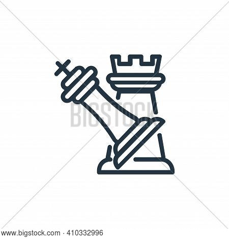 attack icon isolated on white background from chess game collection. attack icon thin line outline l