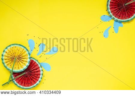 Paper Fruit Origami Watermelon Fan Decoration. Creative Banner With Copy Space On Bright Yellow Back