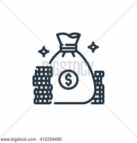 money bag icon isolated on white background from banking and money collection. money bag icon thin l
