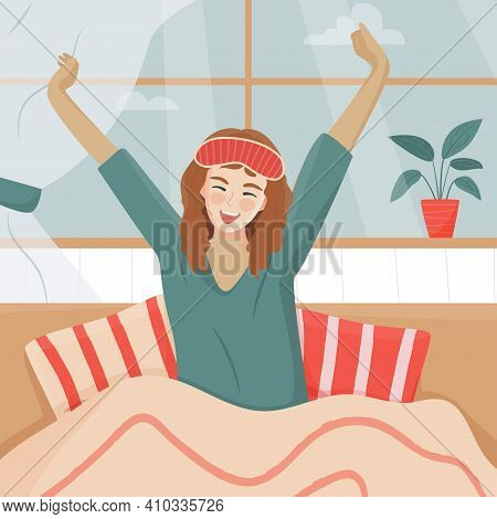 Young Happy Woman In Sleep Mask Stretching Her Arms And Smiling After Waking Up. Good Morning Concep