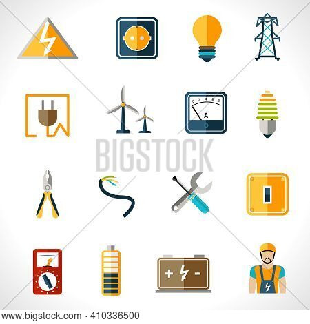Electricity Icons Set With Tester Engineer Socket Electric Power Equipment Isolated Vector Illustrat