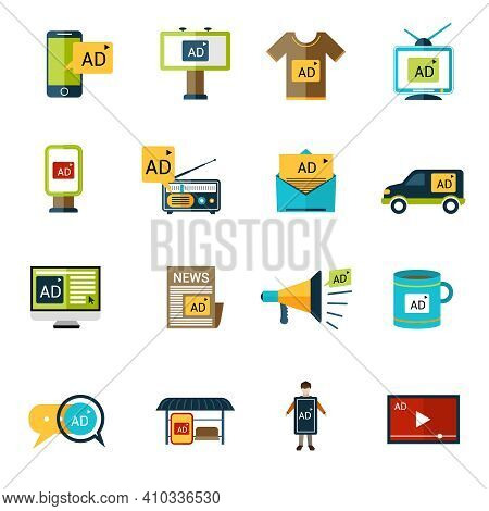 Advertising Multimedia Target Publishing Icons Set With Billboards And Signage Isolated Vector Illus