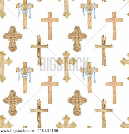 Watercolor Seamless Pattern Of Wooden Christian Crosses. Brown Church Crosses. Abstract Religion Sym