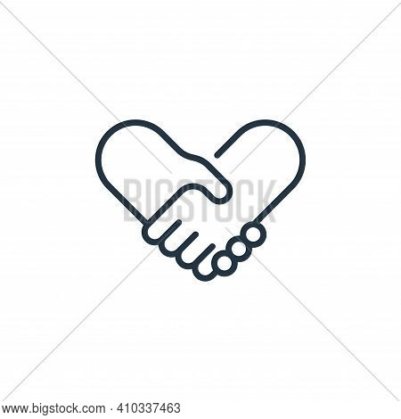 handshake icon isolated on white background from life skills collection. handshake icon thin line ou