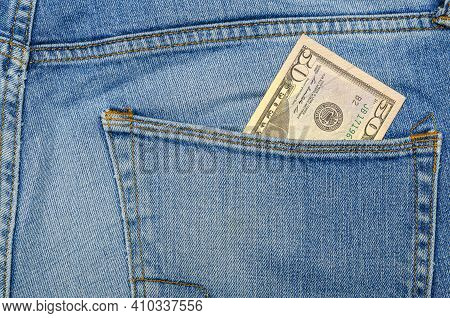Money In My Jeans Pocket, Fifty Dollars In The Back Pocket Of Blue Jeans. Wealth And Prosperity Conc