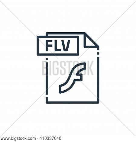 flv file icon isolated on white background from file type collection. flv file icon thin line outlin