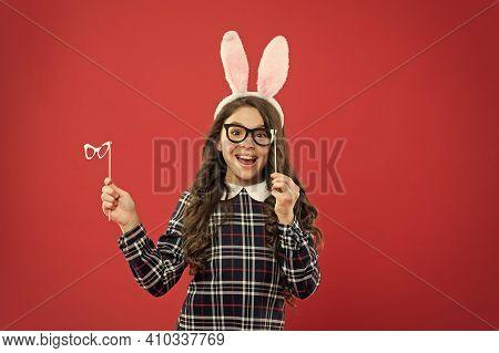 Smart Bunny. Eyewear Booth Props. Little Cute Bunny. Having Fun. Schoolgirl Bunny Ears. Girl In East