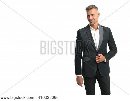 Cool Stylish Male Look. Happy Man In Formal Style Isolated On White. Business Dress Code. Formalwear