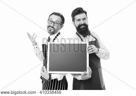 Hipster Bartender Show Blackboard Copy Space. Hiring Restaurant Staff. Men Bearded Informing Happy H
