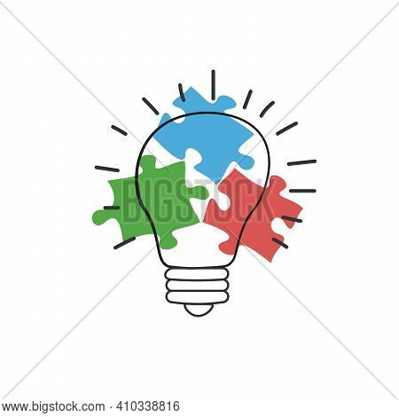 Hand Drawn Lightbulb With Three Puzzle Pieces. New Idea Concept. Stock Vector Illustration Isolated