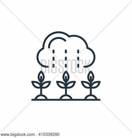 rain icon isolated on white background from smart farm collection. rain icon thin line outline linea