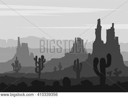 Desert Landscape Witn Huge Rocky Mountains . Vector