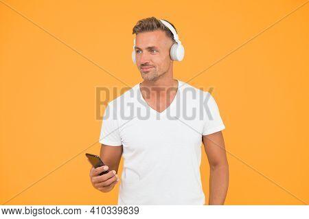 Listening Concept. Best Music Apps. Listen Good Song. Guy Modern User Mobile Application. Favorite M