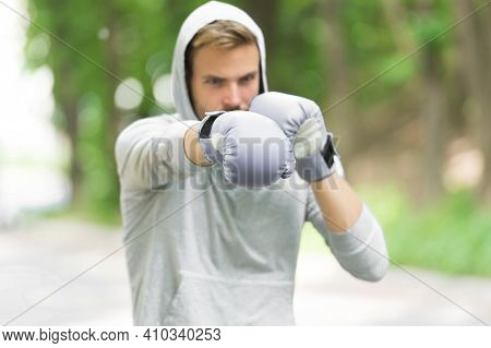 Sportsman Concentrated Training Boxing Gloves. Athlete Concentrated Face Sport Gloves Practice Fight
