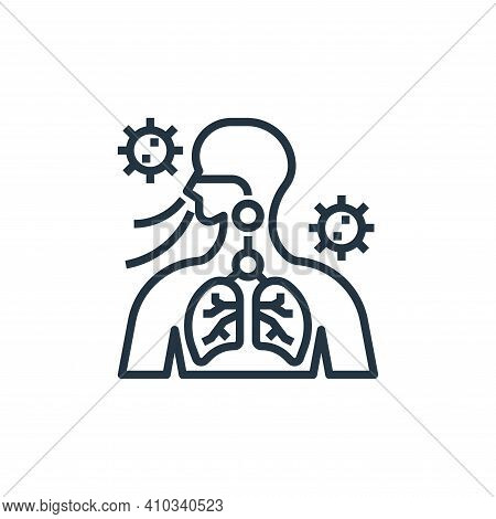 breathing icon isolated on white background from coronavirus collection. breathing icon thin line ou