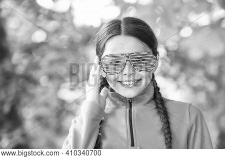 Girl Wear Fleece Jumper For Active Leisure Nature Background, Having Fun Concept.