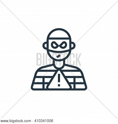 theft icon isolated on white background from business risks collection. theft icon thin line outline