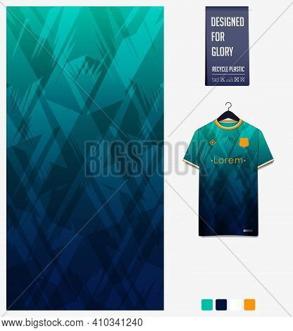 Fabric Pattern Design. Geometric Pattern On Green Background For Soccer Jersey, Football Kit, Bicycl