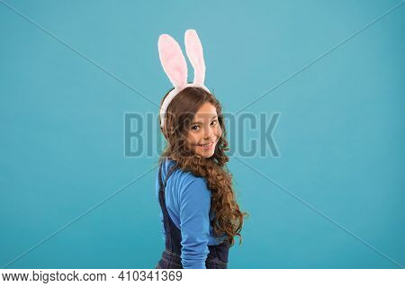 For Look Of Future. Beauty Look Of Easter Bunny. Little Girl Wear Rabbit Ears And Long Hair. Beauty