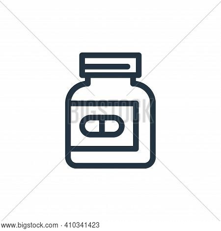pills bottle icon isolated on white background from medical tools collection. pills bottle icon thin