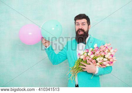 Gentleman Making Romantic Surprise For Her. Flowers Delivery. Gentleman Romantic Date. Birthday Gree