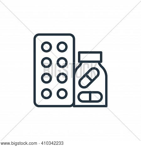drugs icon isolated on white background from stop virus collection. drugs icon thin line outline lin