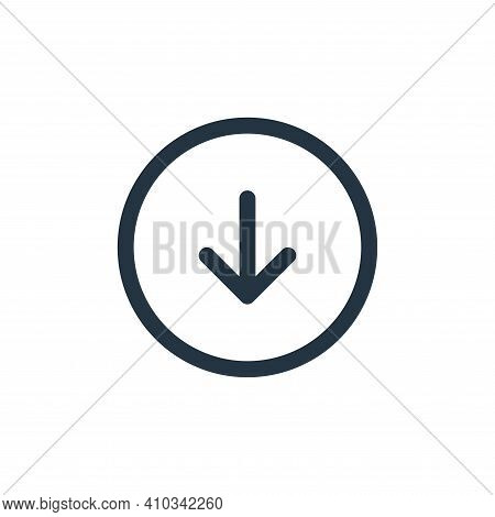 down icon isolated on white background from user interface collection. down icon thin line outline l