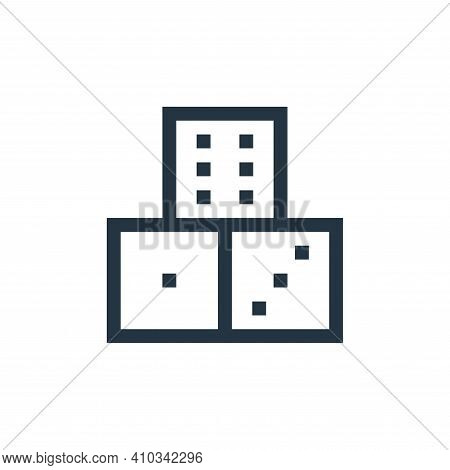 dice icon isolated on white background from video game elements collection. dice icon thin line outl