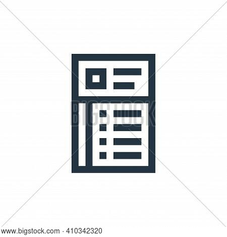CV icon isolated on white background from job resume collection. CV icon thin line outline linear CV