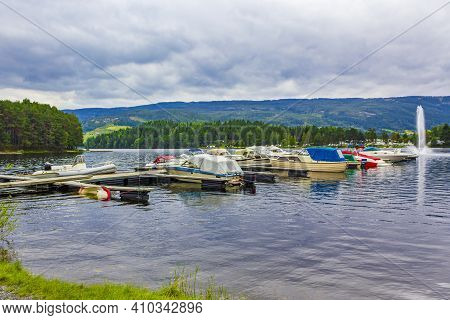 Boats On The Jetty In Town Fagernes Fylke Norway.